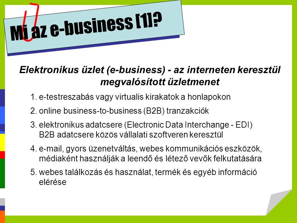 Mi az e-business [1] Elektronikus üzlet (e-business) - az interneten keresztül megvalósított üzletmenet.